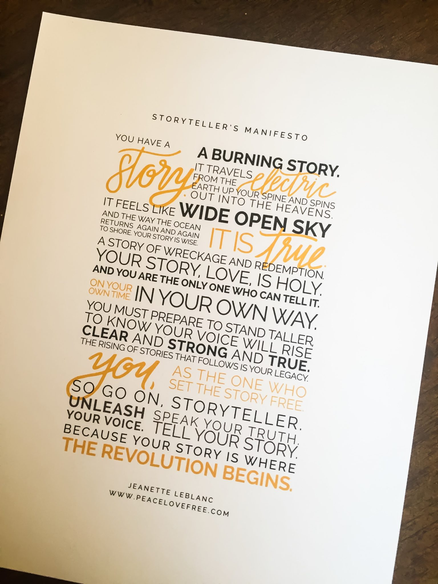 The Storyteller's Manifesto  Quote by Jeanette LeBlanc
