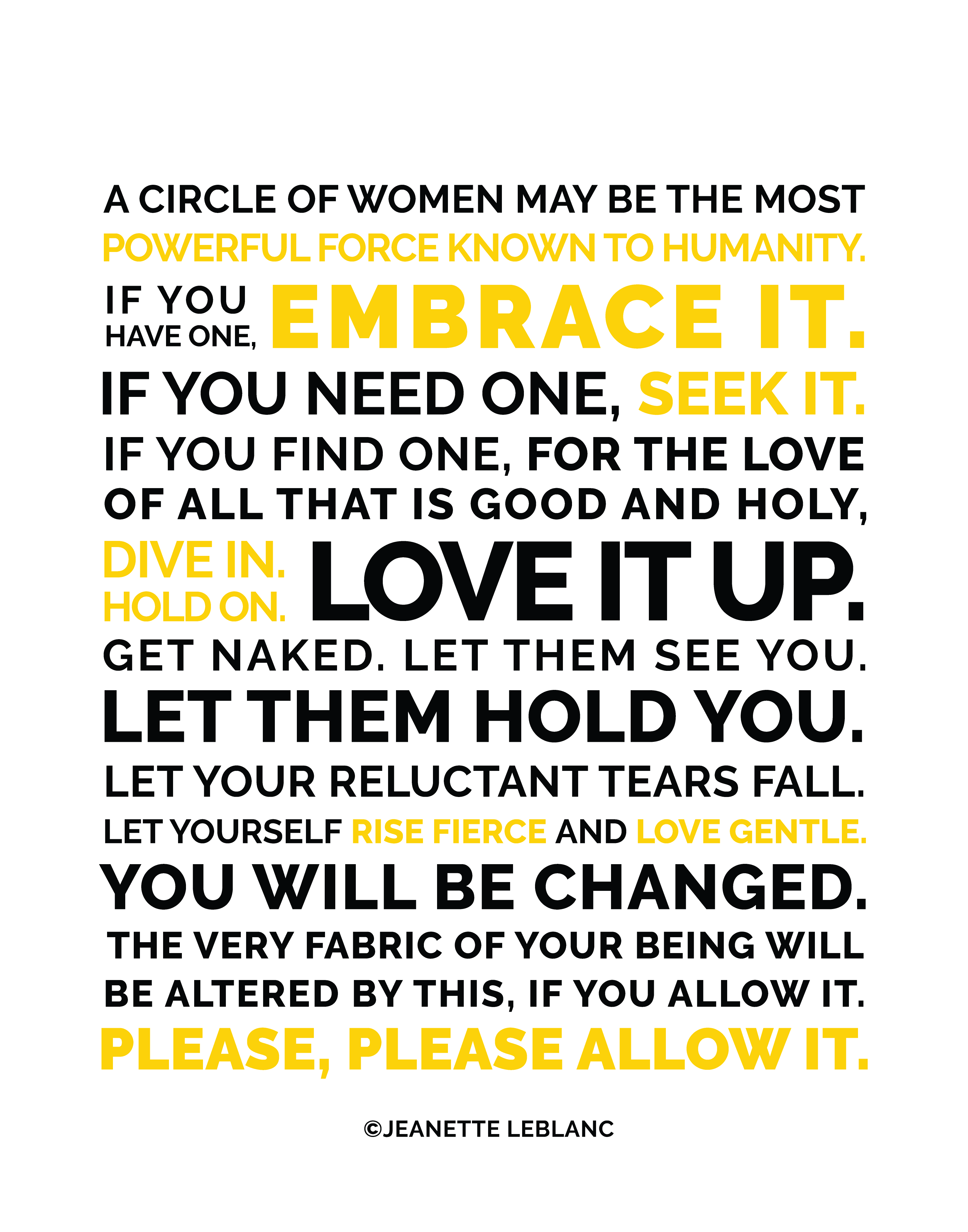 Circle of Women  Quote by Jeanette LeBlanc